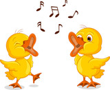 two little chick cartoon singing