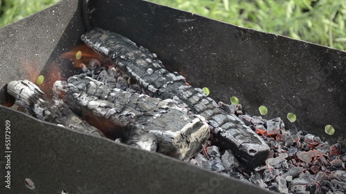 Closeup of a fire burning for barbecue