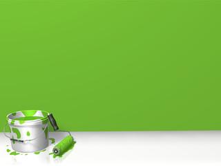 frisch gestrichene Wand, grün