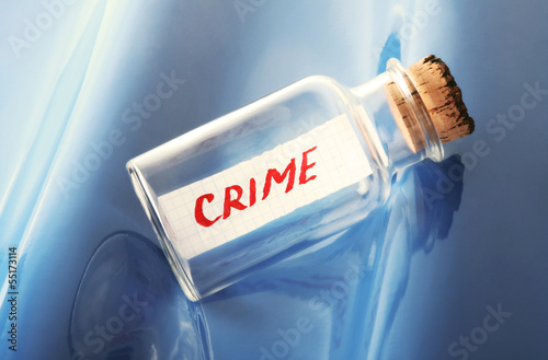 "Concept of a vintage bottle with a message ""crime"""