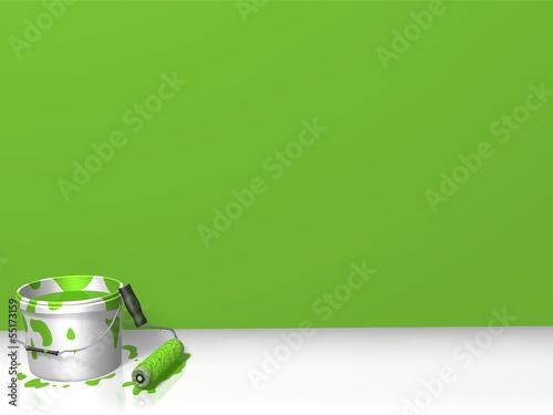canvas print picture frisch gestrichene Wand, grün