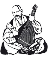 a Cossack Playing A Musical Instrument Kobza