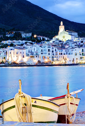 Cadaques, Costa Brava, Spain  with fishing boats at night