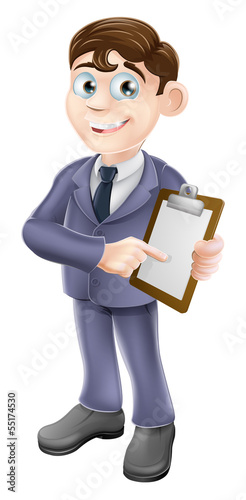 Businessman holding survey or clipboard