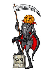Halloween Pumpkin Head Jack The Reaper (Grim Reaper)