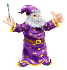 Cartoon Wizard with Wand