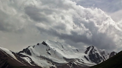 Clouds in the mountains. Kyrgystan, central Tien Shan