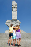 Family admire the Westerplatte monument