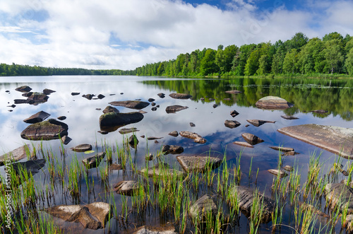 Scandinavian lake in summer season