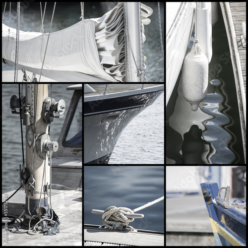 Retro look collection of yacht sailboat details