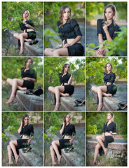 Cute woman in black dress and high heels sitting on brick wall