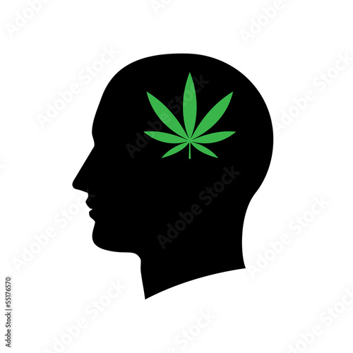 Silhouette of a man head isolated