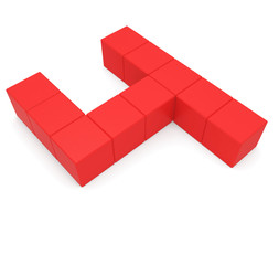 number 4 cubic red