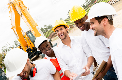 Group of workers at a building site
