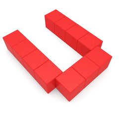 letter U cubic red