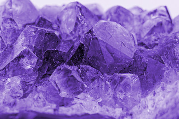 crystal macro photo in purple color