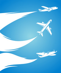 Airplane collection and blue background. Vector