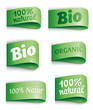 green vector labels bio/organic
