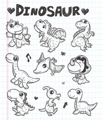 doodle dinosaur icons