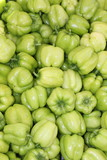 Fresh market produce of green peppers