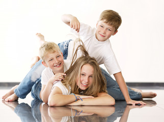 young beautiful girl with brothers