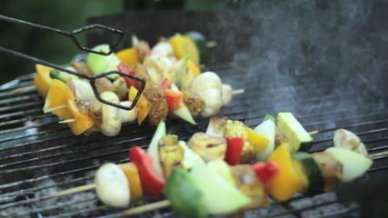 Fresh skewer on grill