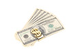 One hundred dollars banknotes in money clip