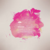 Vector watercolor texture. Pink grunge paper template. Water. We