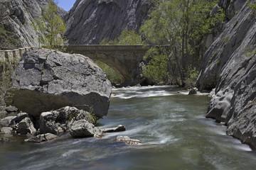 River bends through canyon.Vegacervera gorge(hozes de Vegacerver
