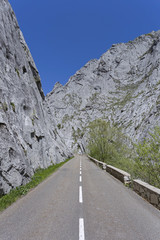 Road bends through canyon.Vegacervera gorge(hozes de Vegacervera