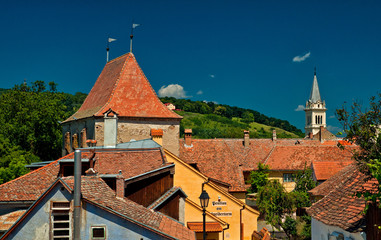 Nice houses in the old town of Sighisoara, Romania