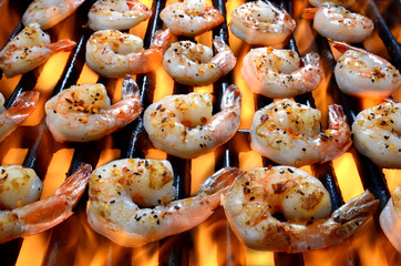 Shrimp On A Grill Over An Open Flame