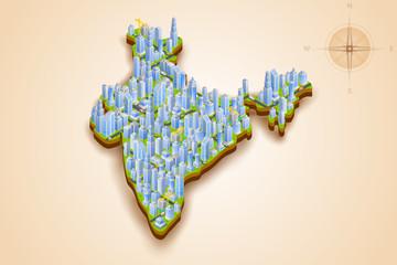 Isometric Cityscape of India