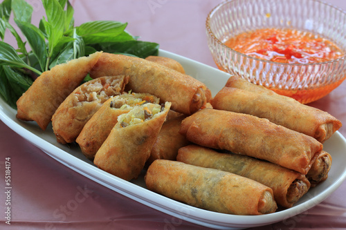 Deep Fried Eggroll Thai-Chinese food.