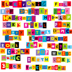 Music genres made of colorful letters