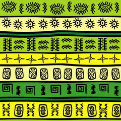 Background with green and yellow tribal ornaments