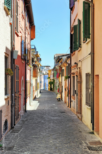 Narrow street in the old town of Rimini