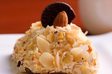almonds on cake