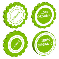 Eco organic food vector stamp or label ecology background