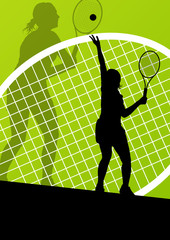 Tennis players detailed silhouettes vector background concept il
