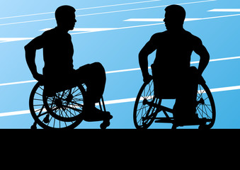 Active disabled men in a wheelchair detailed sport concept silho