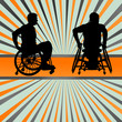 Disabled person in wheelchair vector background