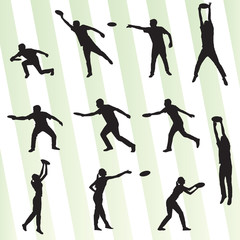 Disk thrower and catcher active people sport background illustra
