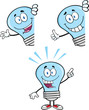 Blue Light Bulb Cartoon Characters  Set Collection 4