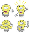 Yellow Light Bulb Cartoon Characters  Set Collection 6