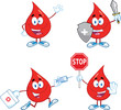 Blood Drop Cartoon Mascot Characters  Set Collection 2