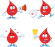 Blood Drop Cartoon Mascot Characters  Set Collection 6