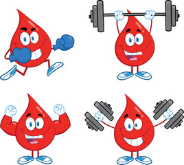 Blood Drop Cartoon Mascot Characters  Set Collection 1