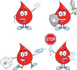 Blood Drop Cartoon Mascot Characters  Set Collection 2