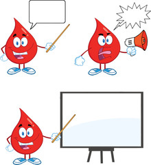 Blood Drop Cartoon Mascot Characters  Set Collection 3